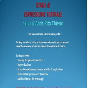 Stage di Espressione Teatrale con Anna Rita Chierici Mercoledì dalle 19.00 alle 21.00